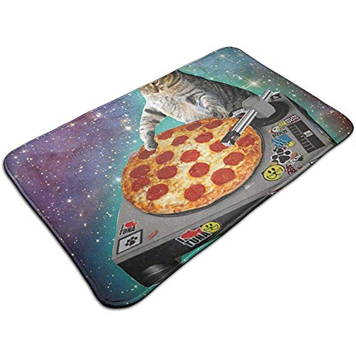 Joe-shop Non Slip Absorbens Badmat - Machine Wasbaar Keuken Badkamer Tapijt Decor Deurmatten Tapijten;Space Cat Pizza