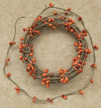 Pip Berry String Garland Pumpkin Colored 18' Country Primitive Floral Craft Décor