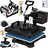 VEVOR Heat Press 12 X 15 Inch Heat Press Machine 5 in 1 Digital Multifunctional Sublimation Swing Away Heat Press with 3 Pack Teflon Sheet Heat Press Machine for T Shirts Hat Mug Cap Plate