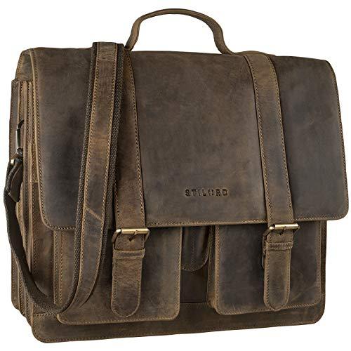 STILORD 'Marius' Teacher Bag XL School Bag Leather Satchel Men Women Business Shoulder Bag Witch 14 inch Laptop Compartment Genuine Leather, Colour:Middle Brown