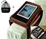 IPENNY Couch Sofa Armrest Organiser with Cup Holder Tray Chair TV Remote Holder Bedside Storage Pocket Bag for Cellphone Tablet Notepad Book Magazines DVD Eyewears Drinker Snacks Holder Pouch