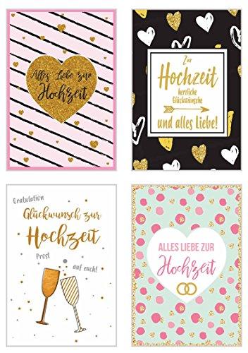 Edition Seidel Set 4 exklusive Hochzeitskarten mit feiner Goldprägung Glimmerveredelung und Umschlag. Glückwunschkarte Grusskarte zur Hochzeit. Hochzeitskarte Karte