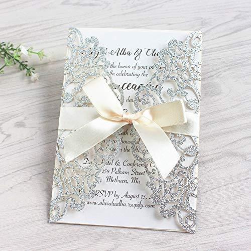 JOFANZA Silber Glitzer Hochzeit EinladungsKarten Für Lasercut Elegante Blume Spitze Glückwunsch Einladung Karten , 20 Stück inkl Umschläge