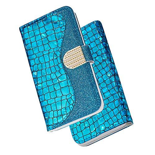 ZCXG Kompatibel Mit Handyhülle Samsung Galaxy J6 Hülle Leder Glitzer Mädchen Brieftasche Weich Silikon Inner TPU Case Tasche Leder Magnet Stand Flip Cover mit Kartenfach Schutzhülle Blau
