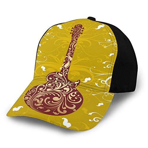 JONINOT Männer Frauen Verstellbare Baseballkappe Hut Blumen Konzeptionelle Komposition Verzierte Verzierungen Akustik Kunstvolles Instrumentendesign