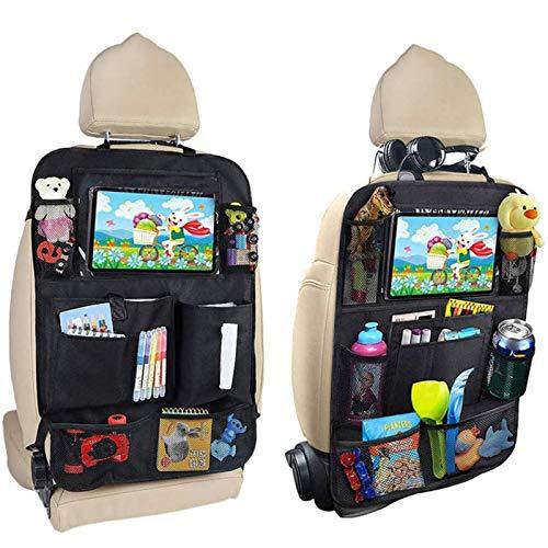 Autostoel Rugbeschermer, 2 Stuks Auto Back Seat Organizer Voor Kinderen, Grote Tassen En Ipad/Tablet Zak, Waterdicht Autostoelen, Kick Mat Bescherming Voor Autozitje,Black