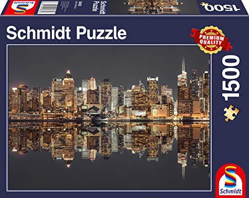 Schmidt Spiele Puzzle 58382 New York Skyline bei Nacht, 1500 Teile Puzzle, bunt