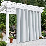 NICETOWN Outdoor Privacy Curtain for Patio Waterproof, Thermal Insulated Room Darkening Grommet Drape for Balcony/Cabana, Privacy Curtain Room Divider, Greyish White, 1 Panel, 100' W by 95' L