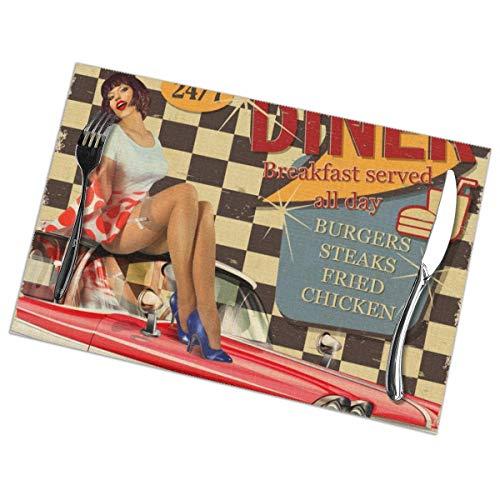 Harry wang Tischsets für Esstisch 6er-Set, American Diner Vintage Poster mit Retro-Auto und Pin-up-Girl. Tischdecke