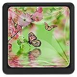 Pomo de cristal para cajón con diseño de mariposas y muelles de agua, color verde, 3 unidades