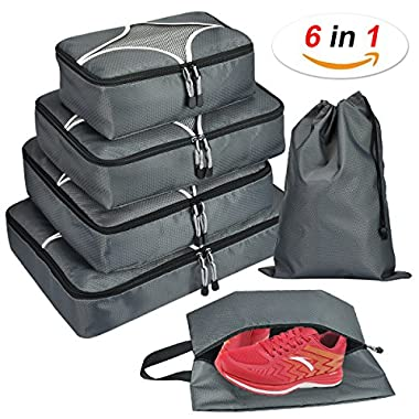 Hokeeper 6 Set Packing Cubes - Travel Luggage Packing Organizers with Laundry Bag & Shoe bag (Gray)