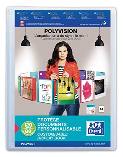 OXFORD Protège-Documents Polyvision A4 120 vues / 60 pochettes Incolore translucide