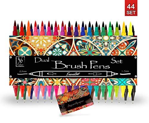 Bianyo Pincel Lápiz Brush Pen Set–Agua Colores Pincel Lápiz 20Colores + 1Reservorio de Agua Pincel–Muy Bien Adecuado para Acuarela de Efectos, Mano Lettering, Colorear, caligrafía