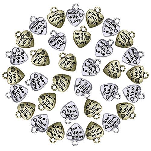 100 Pezzi Made with Love Pendente Ciondolo Charm in Colore Argento Ciondolo a Forma di Cuore Fatto Made with love in lega stile tibetano ciondoli pendente Ciondoli per Collane Bracciali 12 * 10mm