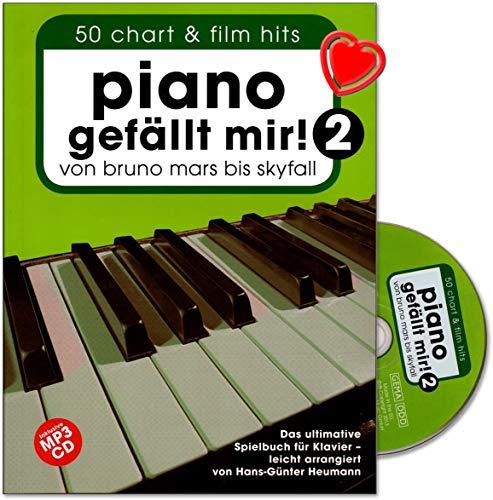 Piano gefällt mir! 50 Chart und Film Hits - Band 2 - von Bruno Mars bis Skyfall. Das ultimative Spielbuch für Klavier - arrangiert von Hans-Günter Heumann - mit CD und bunter herzförmiger Notenklammer