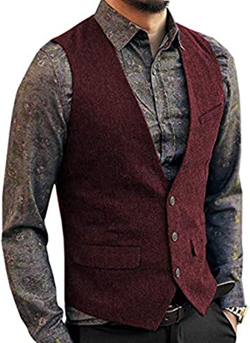 Solove-Suit Chaleco de Traje de Lana de Tweed de Espiga clásico para Hombre Chaleco de Corte Entallado con Cuello en V para Boda Goomsmen (borgoña, XXL)