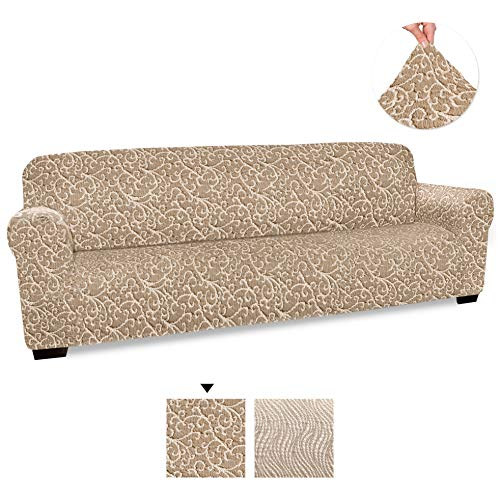 PAULATO BY GA.I.CO. Couch Cover - Sofa Cover - 4 Seater Sofa Slipcover - Cotton Fabric Slipcover - 1-Piece Form Fit Stretch Stylish Furniture Cover - Jacquard 3D Collection - Beige Vento (Sofa)