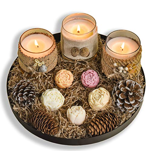 Le Sens Amazing Home Candle Holder Set House Decor Centerpiece 11 inches, Festive Wedding Rustic Family Candles Marriage Ceremony Candles Burlap Lace Pinecones Scented Candle Set (Wax Flower)