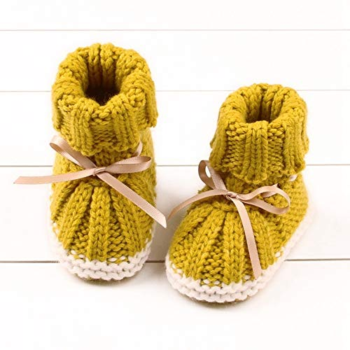 Youpin Unisex Babyschuhe für Jungen und Mädchen, Neugeborene, Winterschuhe, warm, für Kleinkinder, Babybett, gestrickte Wolle, Lauflernschuhe (Alter 7 bis 12 Monate, Farbe: Y)