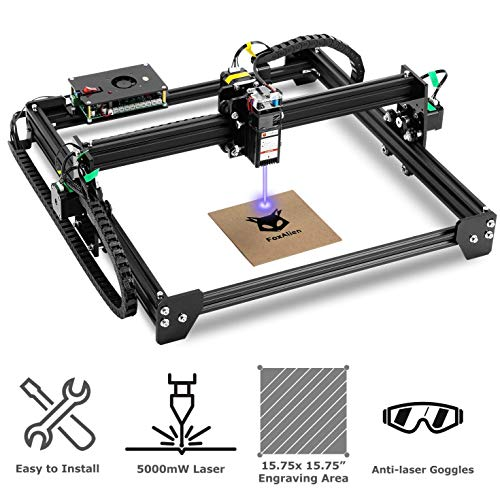 LE-4040 Desktop Laser Engraver 5000mW, 40x40cm CNC Laser Engraving Machine Wood Cutter Carving for Acrylic Leather MDF Logo Picture DIY Making GRBL Control