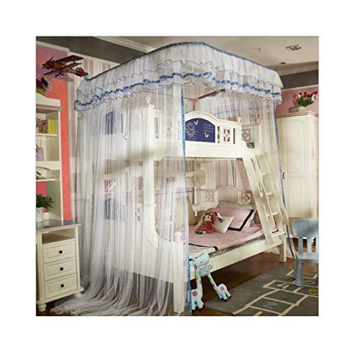 Redes con patrón de riel en Forma de U, Cama para Madre e Hijo, litera para niños, mosquiteras, Modelos de Piso a Techo, 360 ° Completamente Cerrado 250x150x260cm(Color:Blue,Size:2.5 * 1.5 * 2.6M)