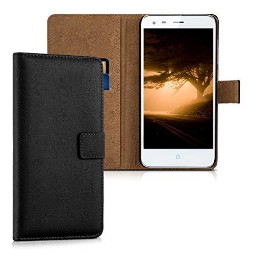 kwmobile Hülle kompatibel mit ZTE Blade S6 Plus LTE 4G - Kunstleder Wallet Case mit Kartenfächern Stand in Schwarz