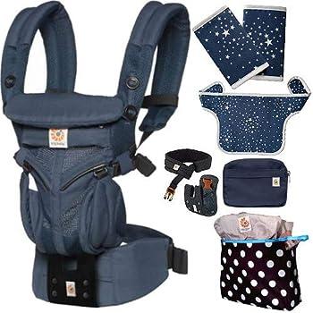 エルゴベビー OMNI360 オムニ360クールエア/ミッドナイトブルー 抱っこひも 正規代理店2年保証 (ウエストベルト+よだれパッド+ママ&ベビー両用カバー+収納ポーチ付) ERGO Baby