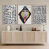 SHKJ Africano Abstracto Punteado Mono Babuino Selva Fauna Arte impresión Cartel contemporáneo Pared en Blanco y Negro decoración para el hogar 40x60cm / 15.7'x23.6 X3 Sin Marco