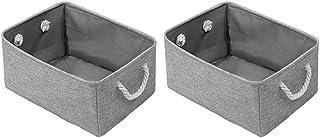 Buanderie Panier de blanchisserie pliable jouets de stockage Organisateur de stockage avec coton poignées de corde gris 2p...