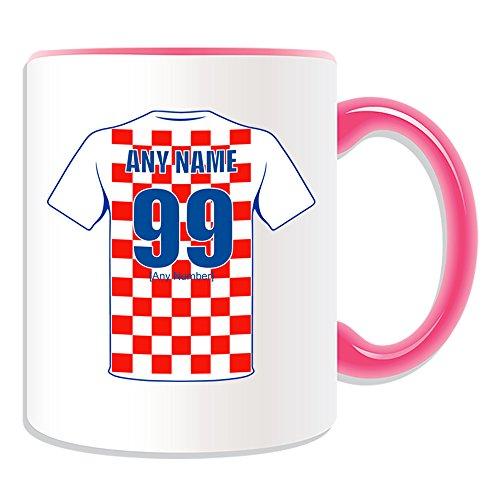 Gepersonaliseerd geschenk - Kroatië Nationale Mok (voetbal Team Design Thema, Kleur) Elke naam/nummer op uw Unieke - FC Kit Shirt Jersey Strip Vatreni De Blazers Peter en Miranda Svaic Kroatische CRO roze