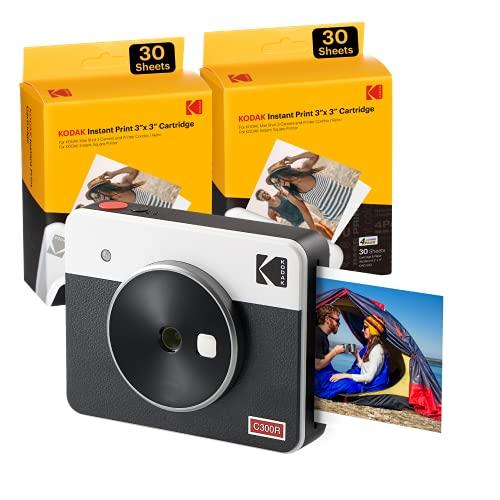 Kodak Mini Shot 3 Retro Tragbare Kabellose Sofortbildkamera und Fotodrucker, iOS & Android, Bluetooth, 76 x 76 mm, 4Pass-Technologie, 68 Blatt – Weiß