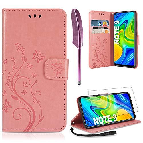 AROYI Coque Xiaomi Redmi Note 9, Retro Design PU Etui Housse en Cuir Portefeuille de Protection [Fonction Stand Video] [Porte Carte Credit Ticket] Flip Case pour Xiaomi Redmi Note 9 Rose