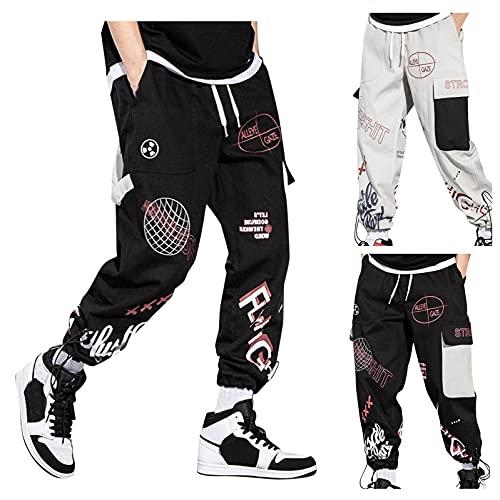 Herren Hose Hip Hop Lose Jogger Cargo Pants Modern Übergroße mit Muti Taschen Straight Streetwear Punk Hosen Freizeithose Regular Fit Baggy Track Pants Lang Jogging-Hose Weitem Bein-#2