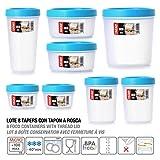 Lote de 8 Tapers Multiuso con Rosca, 5 Medidas Variadas en Plastico de Alta Calidad (Azul Turquesa)