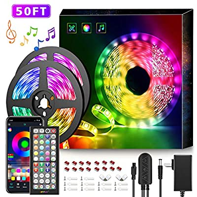 50Ft LED Strip Lights Music Sync Color Changing RGB LED Strip 44-Key Remote, Sensitive Built-in Mic, App Controlled LED Lights Rope Lights, 5050 RGB LED Light Strip(APP+Remote+Mic+3 Button Switch)