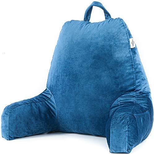 AMERIERGO Almohada de Lectura con Espuma Viscoelástica Triturada, Ideal para Trabajar, Leer o Jugar en la Cama/Sofá/Suelo (Azul)