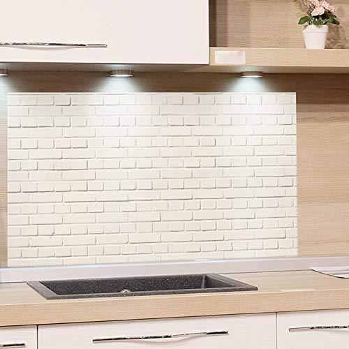 GRAZDesign Küchenrückwand Steinoptik weiß - Spritzschutz Glas Küche - für Herd und Spüle - Eyecatcher - Edles Glas / 100x60cm