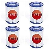 Denkmsd Filtro de piscina tipo II para Bestway tipo II cartucho de filtro de repuesto tipo 2 para bomba de filtro Bestway 58094, filtro hinchable para piscina familiar (4 unidades)