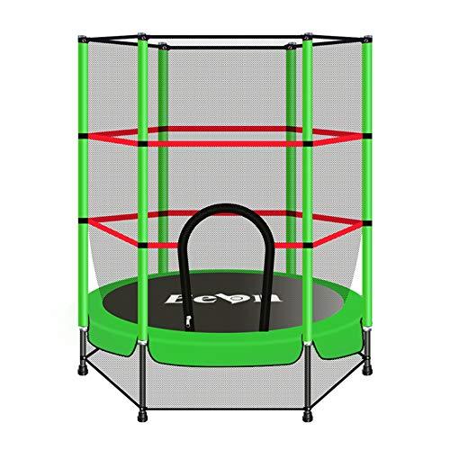 Olz Trampolín Interior para niños, 5.5ft Trampolín con Caja Neta de Salto Mat y la Cubierta del Resorte Relleno trampolín al Aire Libre para la Familia de la Escuela Entretenimiento,Verde