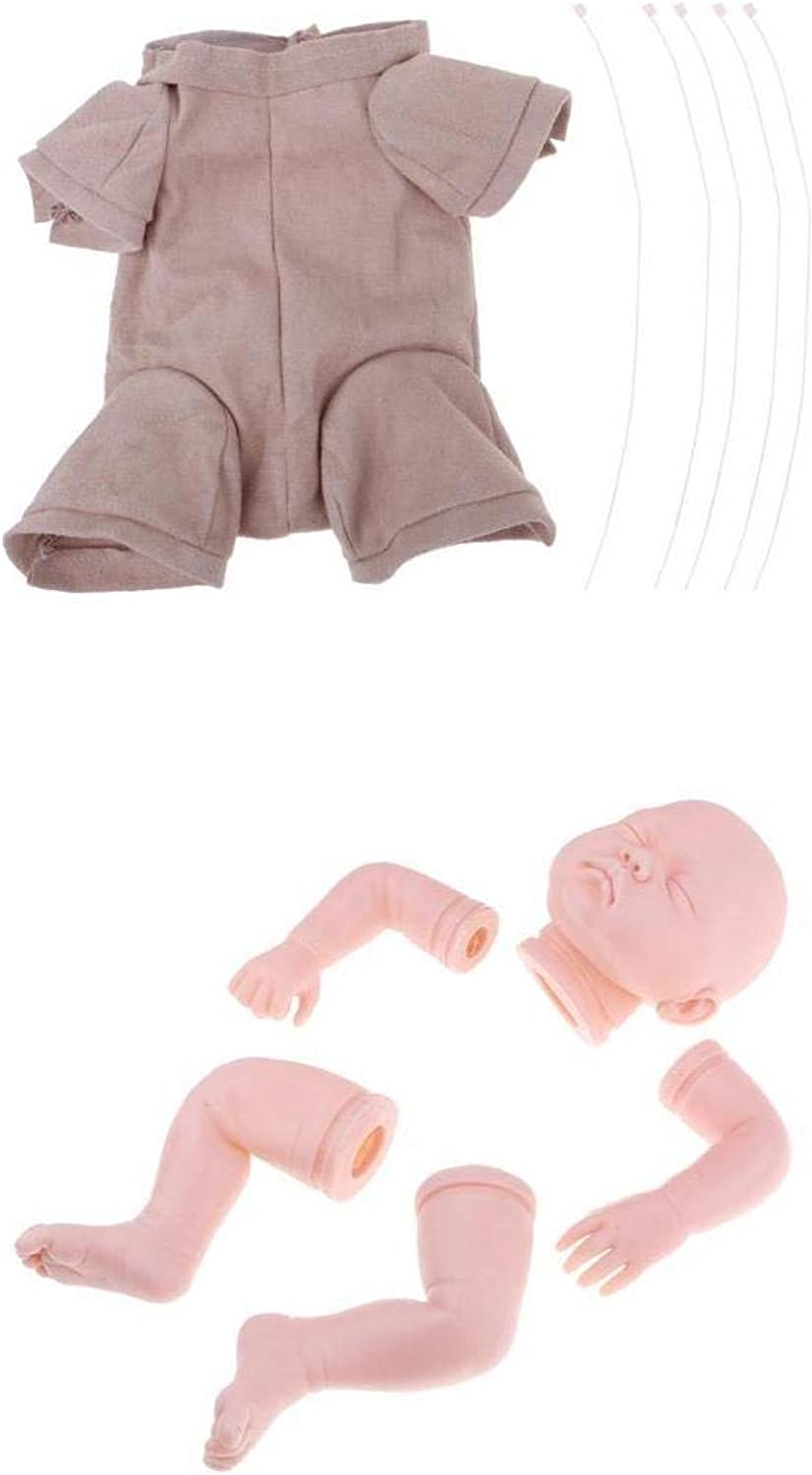 Prettyia Real Touch Large Silicone 22'' Reborn Kit Sleeping Baby Doll Blank Head Limb Mold and Cloth Body Set