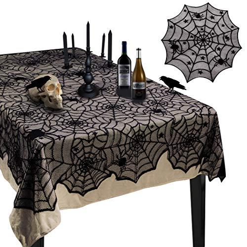 Korlon 2 Pieces Halloween Tablecloth, Halloween Spider Web Tablecloth Table Cover, 54x 72 Rectangular & 42 Round Black Spider Web Lace Tablecloth for Halloween Party Decorations Table Decor