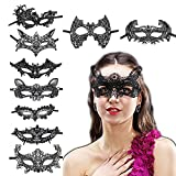 9 Pieces Sexy Mysterious Black lace mask Halloween Costume masks Sexy bar-sex eye patch creative Costume toys Lace masks for birthday and holiday themed parties (Mysterious lace mask 1)