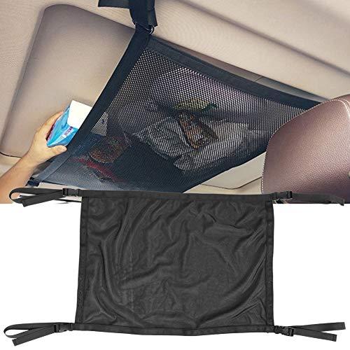 Alomejor Auto Frachtnetz Tasche Interieur Overhead Dach Tasche Hängende Kleinigkeiten Lagerung Organizer Car Net(Schwarz)