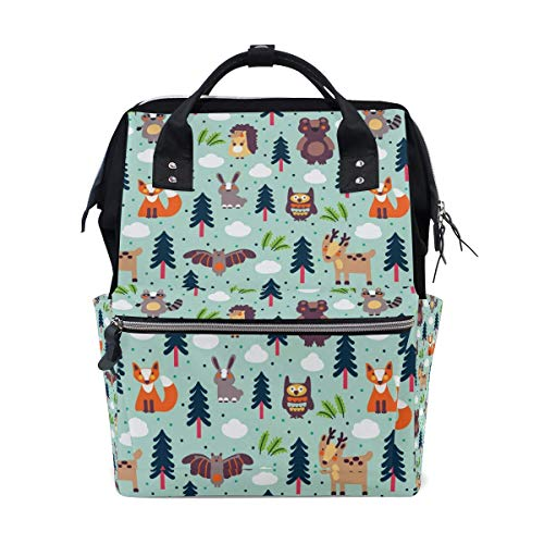 Casual Travel Daypack Forest Animal Fox Rabbit Owl Bat Multipurpose Casual Daypack Diaper Backpack Baby Bag Waterproof Travel Back Pack,Large Capacity,Multipurpose,Stylish and Durable