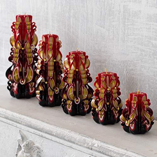 Brillantes velas navideñas al estilo ruso Khokhloma - velas talladas a mano para decoraciones navideñas - regalo...