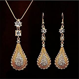 Rhinestone Necklace Earrings Charm Gold Plated Jewelry Set.