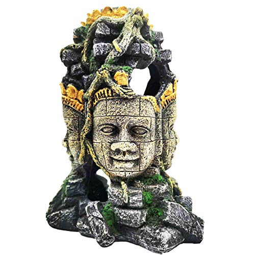 Carefree Fish Aquarium Buddha for Four Faces Decoration Fish Tank Buda Resin Decor Proofwater Paint 10Inch