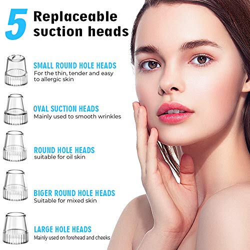 2021 Newest Blackhead Remover Pore Vacuum Electric Pore Cleaner, 5 Suction Power & 5 Probes, USB Rechargeable LED Display Blackhead Extractor Tool for Women & Men
