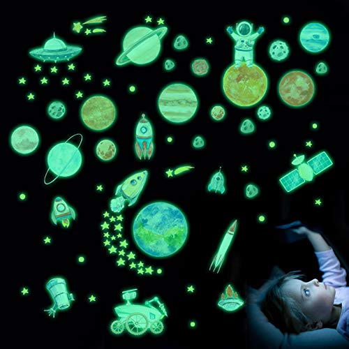 Wandaufkleber Glow in The Dark, 3D selbstklebende leuchtende Ozean Thema Fisch Hai Aufkleber DIY Wandtattoo Wandbilder für Kinderzimmer Baby Kinder Schlafzimmer Wohnzimmer Dekor (Mond-Design)