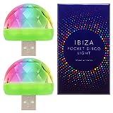 Luz de discoteca de alta calidad Ibiza - Se sincroniza automáticamente con el ritmo de la música - Mini luz RGB portátil USB ultrabrillante - Compatible con todos los teléfonos - (2 paquetes)